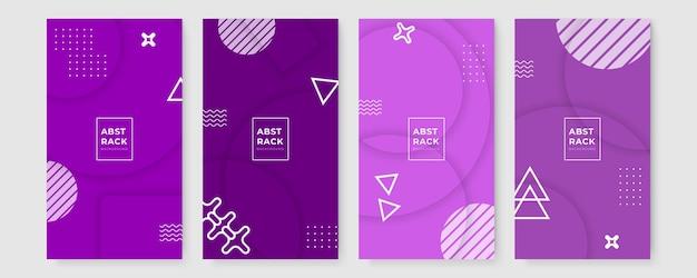 Zestaw graficzny projekt geometryczny tech tło. kolekcja okładek memphis