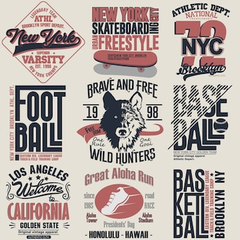 Zestaw graficzny ze znaczkiem na koszulkę. godło typografii nosić sport