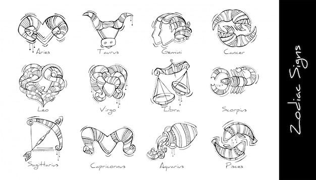 Zestaw graficznych ilustracji znaków zodiaku w stylu boho. baran, byk, bliźnięta, rak, lew, panna, waga, skorpion, strzelec, koziorożec, wodnik, ryby