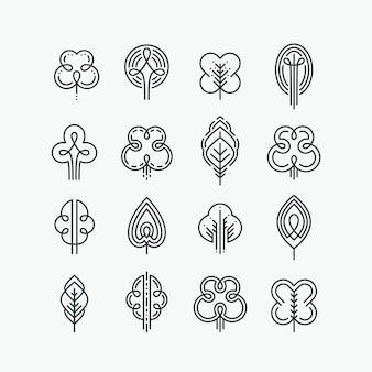 Zestaw graficznych linii drzew i liści, mono-liniowa kolekcja znaków natury, logo i symboli.