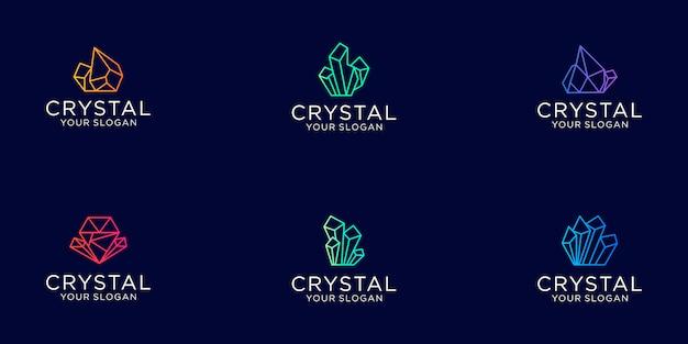 Zestaw grafik liniowych kryształowych klejnotów z logo biżuterii w kolorze gradientu