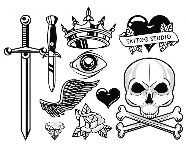 Zestaw grafik monochromatycznych tatuaży