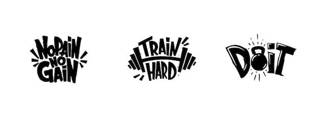 Zestaw grafik treningu siłowni, logo