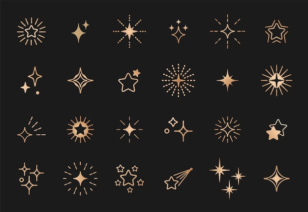 Zestaw grafiki liniowej złotych gwiazd.