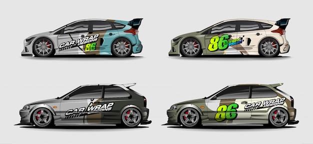 Zestaw grafiki samochodowej. abstrakcyjny kształt wyścigowy dla tła pojazdu
