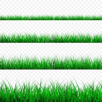 Zestaw granicy zielonej trawy
