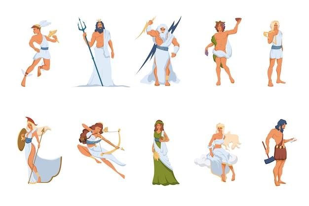Zestaw greckich bogów i bogiń. atena, hermes, wenus, posejdon, zeus, dionizos, artemida, hefajstos, demeter, apollo
