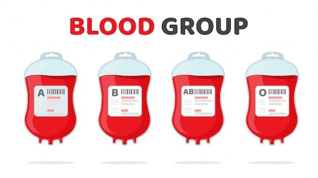 Zestaw grupy krwi. różne worki na krew ab ab o pomysły na oddawanie krwi, aby pomóc rannym.