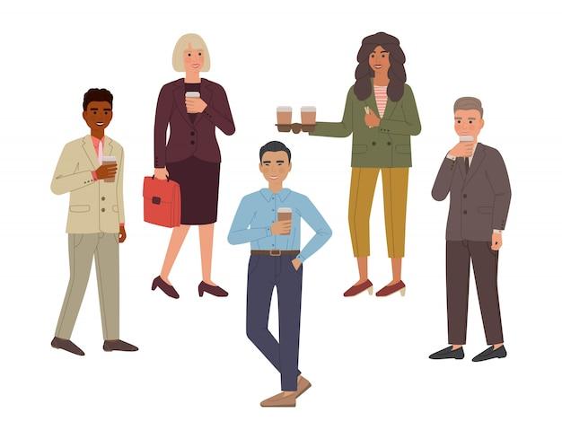 Zestaw grupy ludzi, którzy piją kawę i uśmiech. postaci z kreskówek na białym tle.