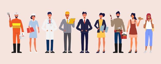 Zestaw grupy różnych zawodów osób. baner międzynarodowego dnia pracy.