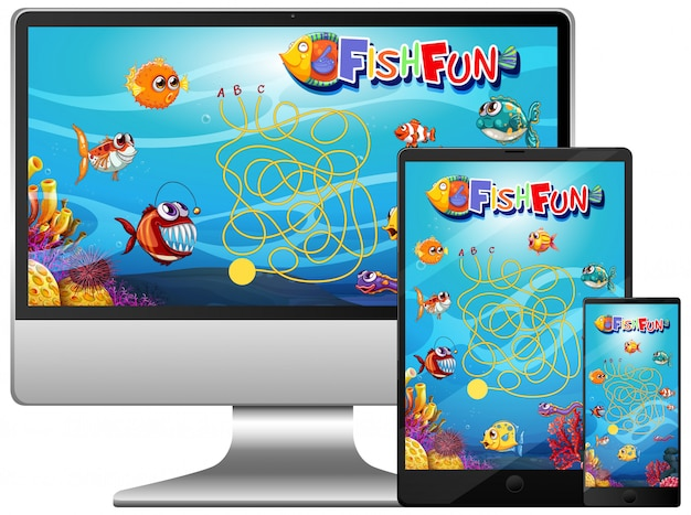 Zestaw gry ryb na ekranie komputera