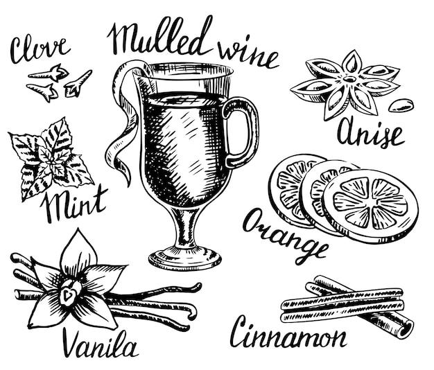 Zestaw grzanego wina ręcznie rysowane