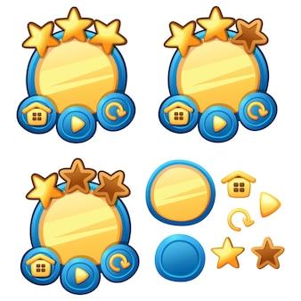 Zestaw gui do gry w menu głównym. elementy strony logowania interfejsu do tworzenia gier i aplikacji internetowych i mobilnych