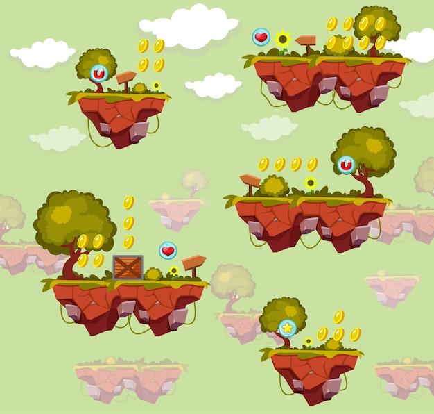 Zestaw gui szablonu gry. projekt mapy poziomu gry na arkadowym komputerze i telefonie komórkowym.