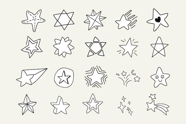 Zestaw gwiazd doodle