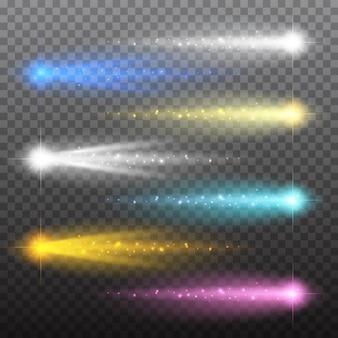 Zestaw gwiazd efekt świetlny pęka z błyszczy na białym tle