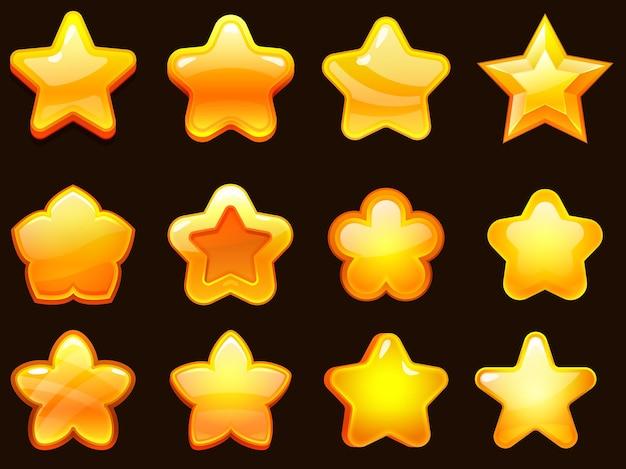 Zestaw gwiazdek interfejsu użytkownika gry