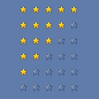 Zestaw gwiazdek w stylu pixel art