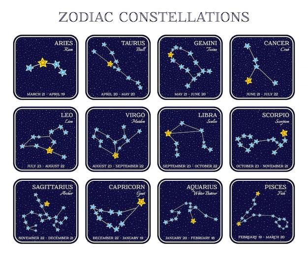 Zestaw gwiazdozbiorów zodiaku w kwadratowych ramkach, ładny styl kreskówek