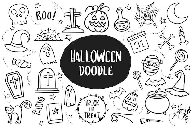 Zestaw halloween doodle na białym tle.