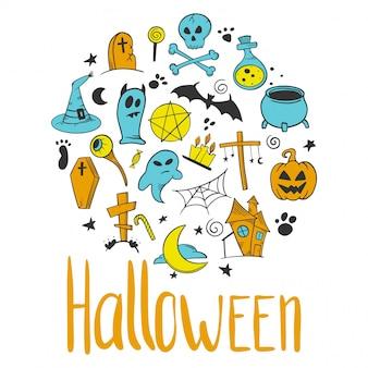 Zestaw halloween. elementy dekoracyjne z dyni i kotła