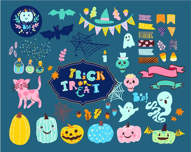 Zestaw halloween ilustracje duchy, dynie, horrory, nietoperze w stylu vintage. cukierek albo psikus.