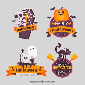 Zestaw halloween naklejek z nicei znaków