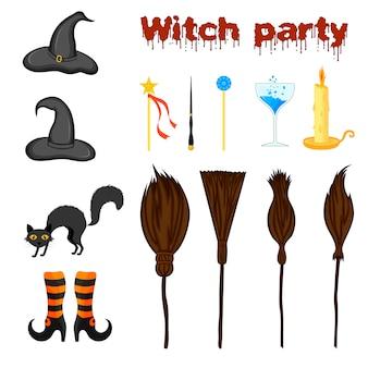 Zestaw halloween z atrybutami wiedźmy. styl kreskówkowy. wektor.