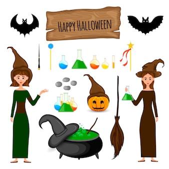 Zestaw halloween z czarownicami. styl kreskówkowy. wektor.