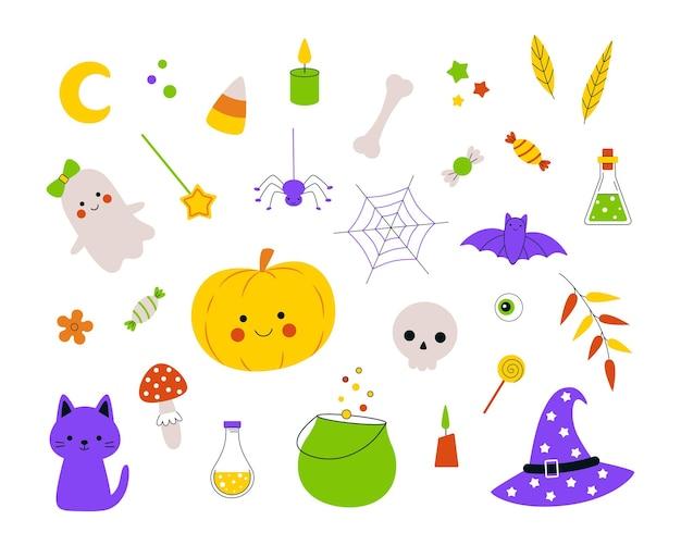 Zestaw halloween z ręcznie rysowanymi duchami dyni i słodyczami