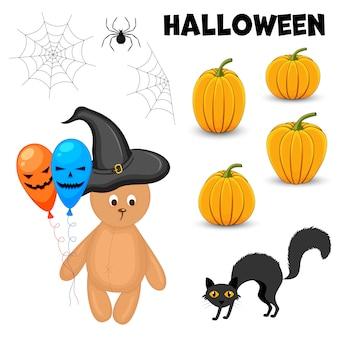 Zestaw halloween z tradycyjnymi atrybutami. styl kreskówkowy. wektor.