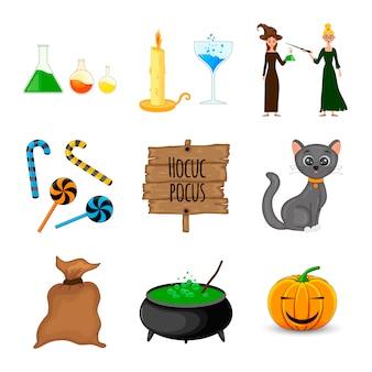 Zestaw halloween z tradycyjnymi atrybutami