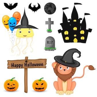 Zestaw halloween z uroczymi zwierzętami i tradycyjnymi atrybutami. styl kreskówkowy. wektor.