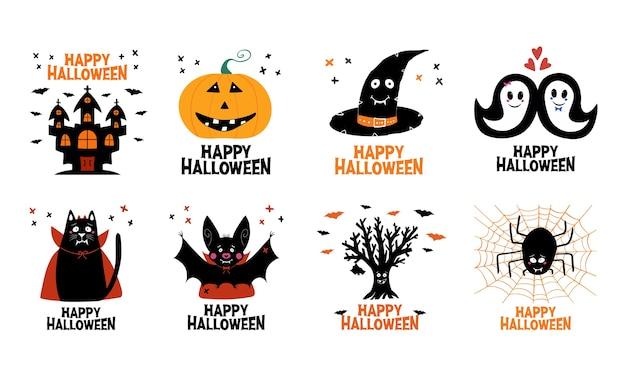 Zestaw halloween. zamek, latarnia z dyni, kapelusz czarownicy, duch, kot, nietoperz, suche drzewo, pająk.