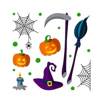Zestaw halloweenowych obiektów miotła czarownicy sieć pająka świeca dynia i kosa ponurych żniwiarzy