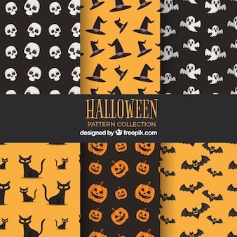 Zestaw hallowen vintage wzorów w płaskim stylu