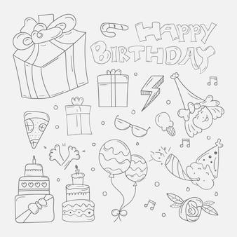 Zestaw happy birthday doodle tło w ręcznie rysowane szkic