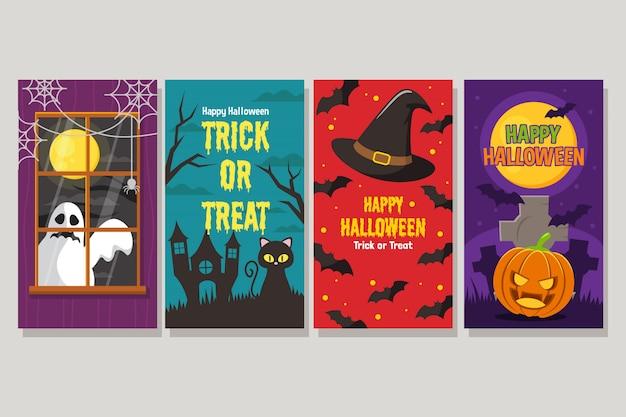 Zestaw happy halloween noc banner z zerkającym duchem, kotem, kapelusz czarodzieja i dyni