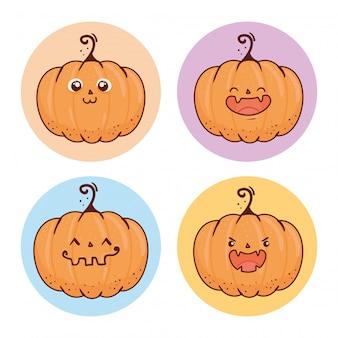 Zestaw happy halloween straszne dynie na okrągłej ramie wektorowej ilustracji projektu