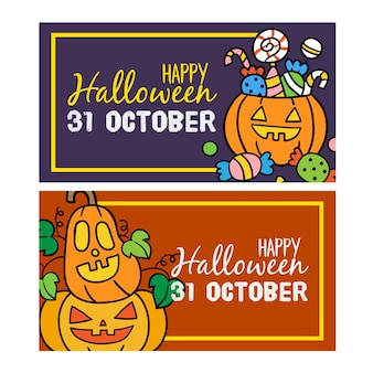 Zestaw happy halloween zaproszenia banery.