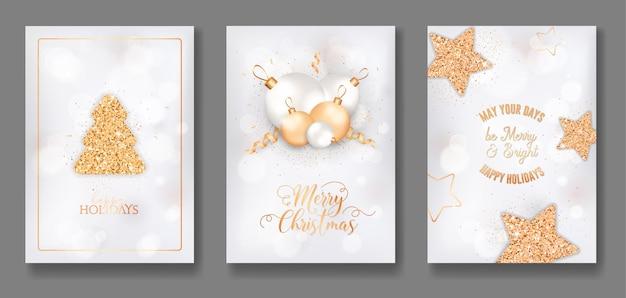 Zestaw happy holidays zaproszenie, ulotki lub projekt transparentu. wesołych świąt i nowego roku eleganckie kartki z błyszczącą, złotą jodłą, brokatem, bombkami, gwiazdkami i konfetti. ilustracja wektorowa