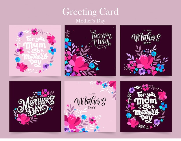 Zestaw happy mother's day. kartki z życzeniami na dzień matki.