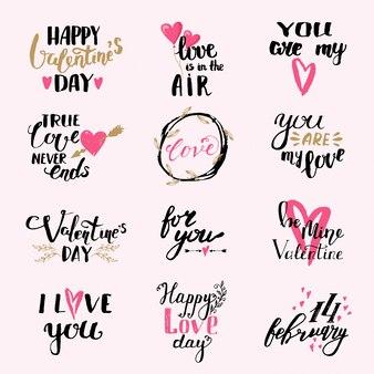 Zestaw happy saint valentines day. jesteś moją miłością. miłość jest w powietrzu. kocham cię.
