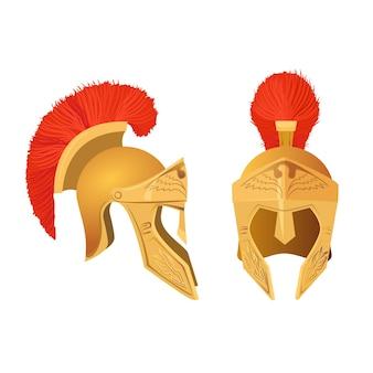 Zestaw hełmów gladiator. rzymska starożytna zbroja wojskowa na głowę.