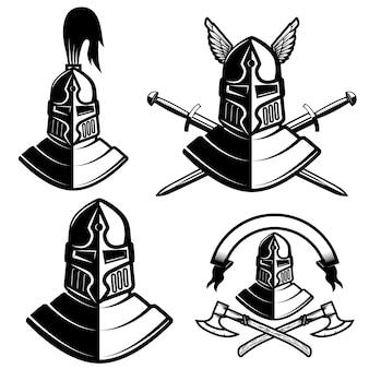 Zestaw hełmów rycerskich z mieczami, toporami. elementy logo, etykiety, godła, znaku, znaku marki. ilustracja