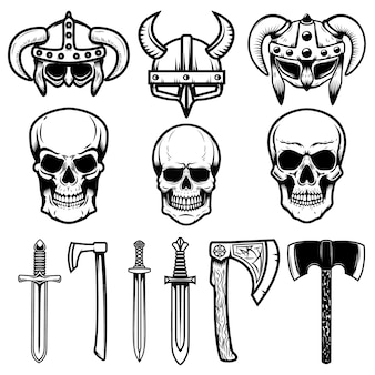 Zestaw hełmów wikingów, broni, czaszek. elementy logo, etykiety, godła, znaku. ilustracja