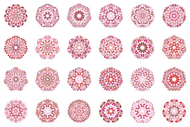 Zestaw heptagon kształt na białym tle streszczenie kwiatowy mozaiki