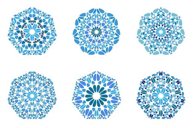 Zestaw heptagon wielobok na białym tle ozdobny kwiecisty geometryczne żwir