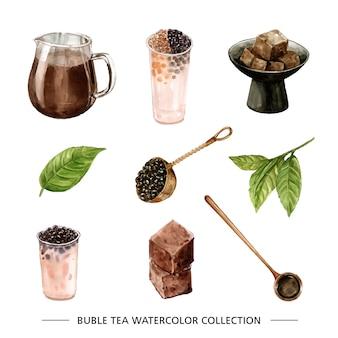 Zestaw herbaty akwarela i ręcznie rysowane bańki