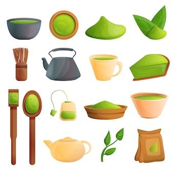 Zestaw herbaty matcha, styl kreskówki